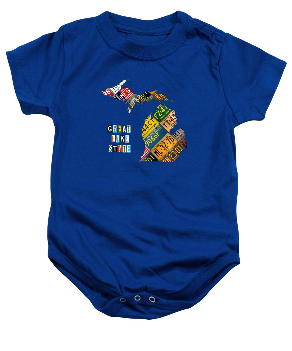 Michigan Baby Onesie featuring the mixed media Michigan License Plate Map Great Lake State With Vintage Blue Plate Background Edition by Design Turnpike