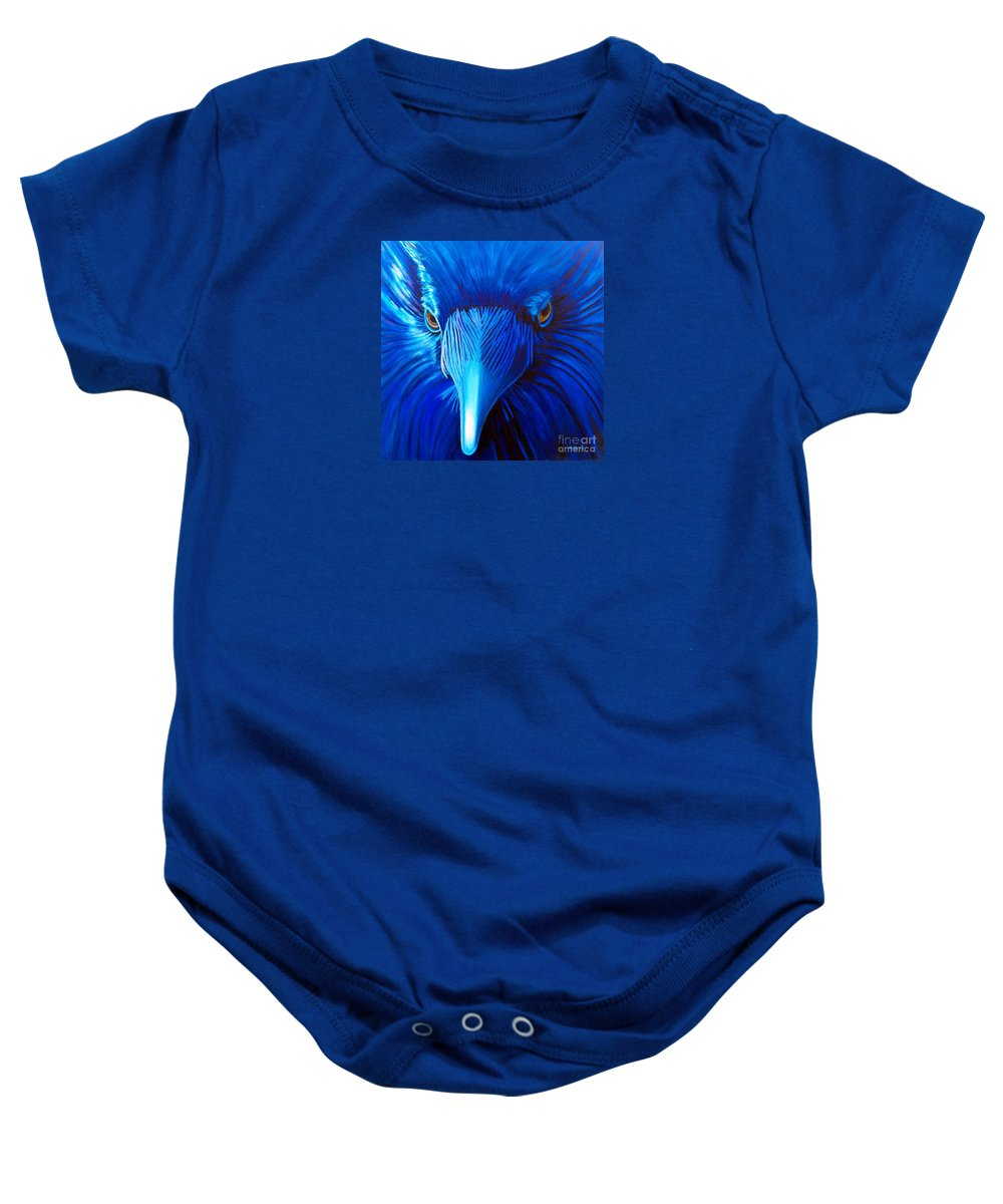 Raven Baby Onesie featuring the painting Midnight Magic by Brian Commerford