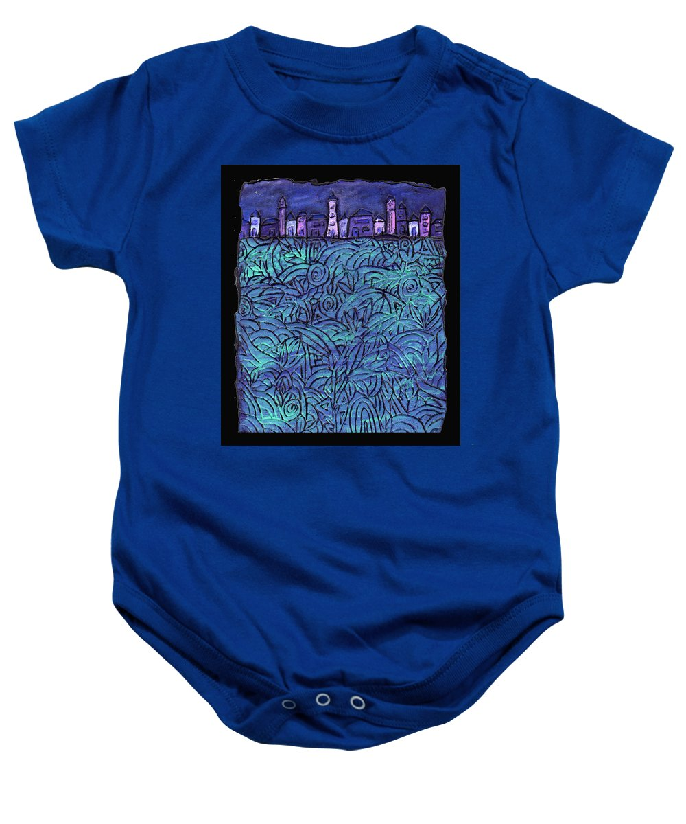 Night Baby Onesie featuring the painting Midnight by Wayne Potrafka