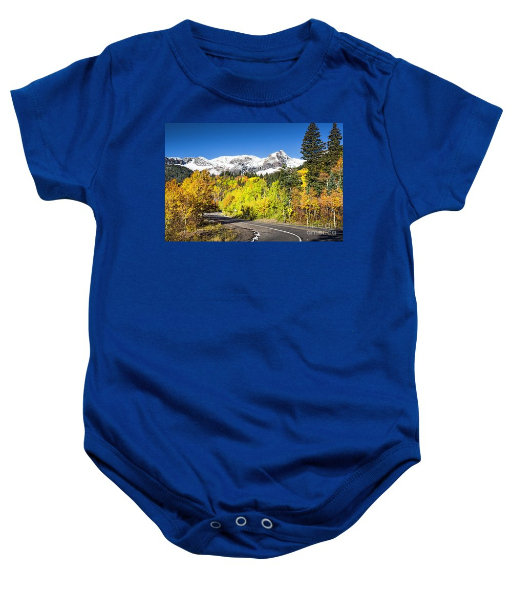 Autumn Baby Onesie featuring the photograph Million Dollar Highway by Daryl L Hunter