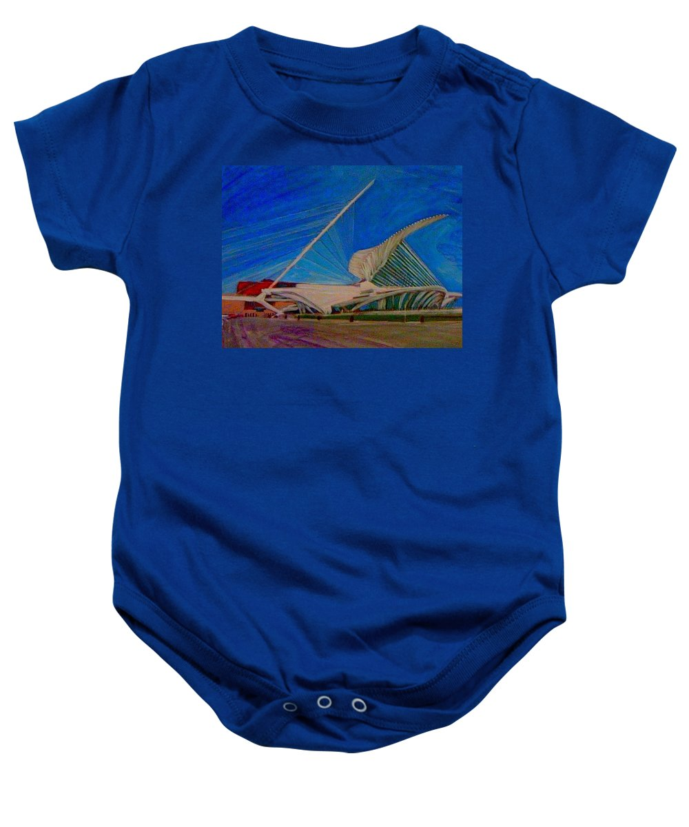 Mam Baby Onesie featuring the mixed media Milwaukee Art Museum by Anita Burgermeister