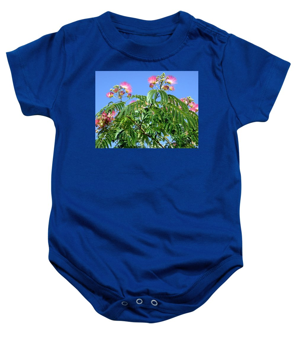 Flowers Baby Onesie featuring the photograph Mimosas In The Sky by Stephanie Moore