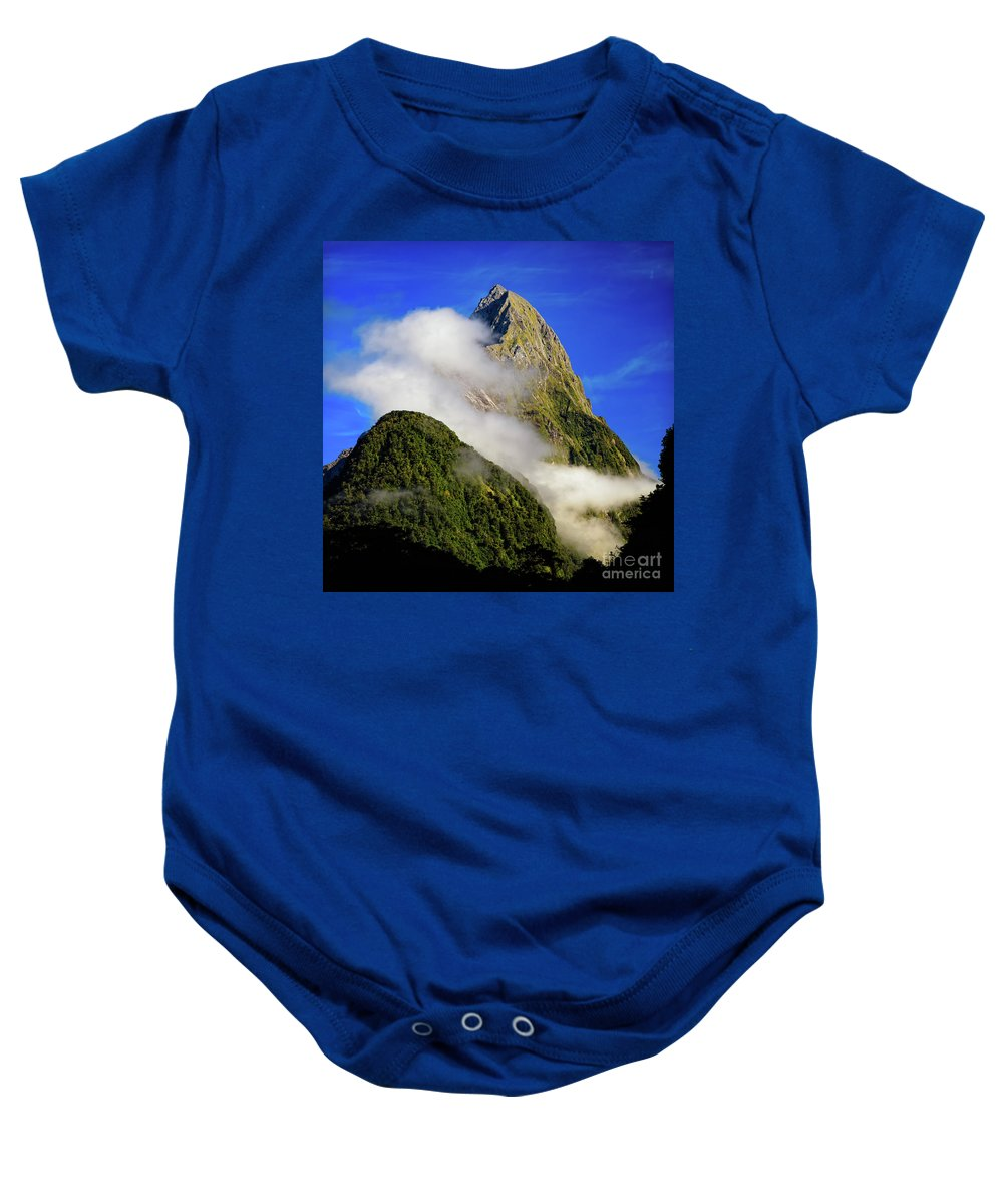 New Zealand Baby Onesie featuring the photograph Mitre Peak by Doug Sturgess