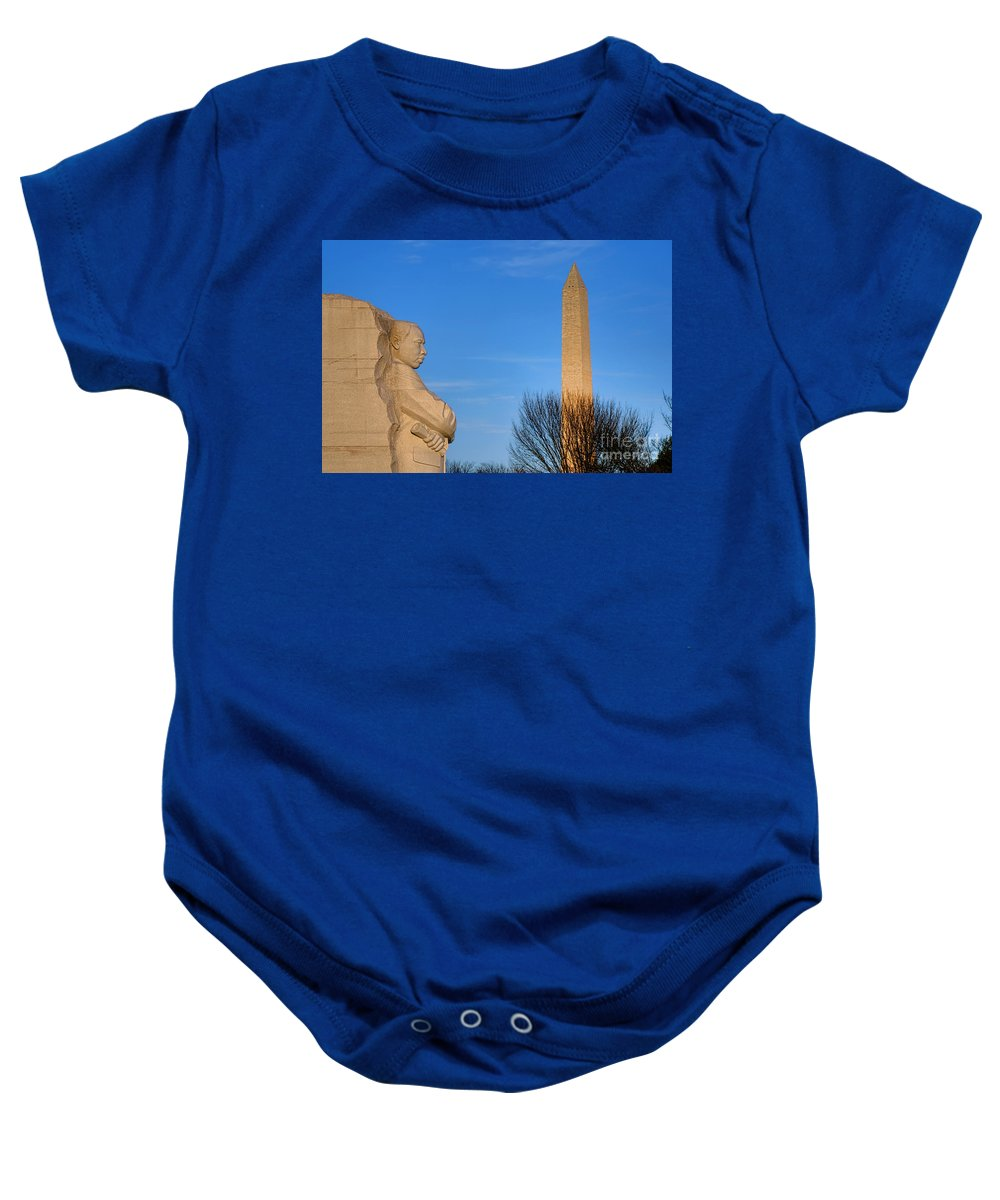 Washington Baby Onesie featuring the photograph Mlk And Washington Monuments by Olivier Le Queinec