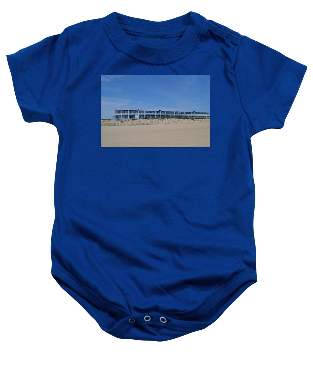 Sky Baby Onesie featuring the photograph Building At The Beach, Montauk, Ny by Erik Burg