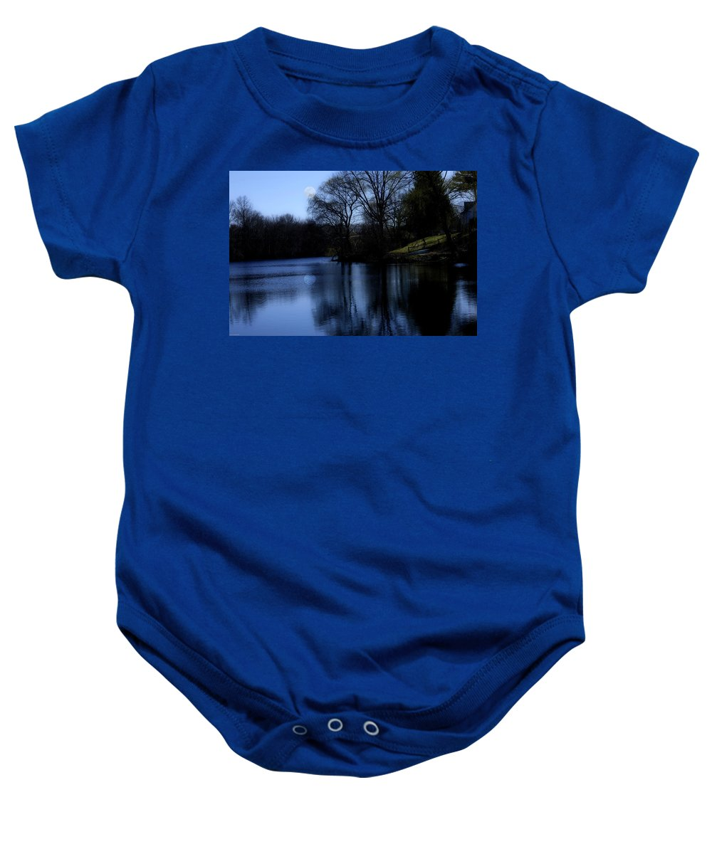 Moon Baby Onesie featuring the digital art Moon Over The Charles by Edward Cardini