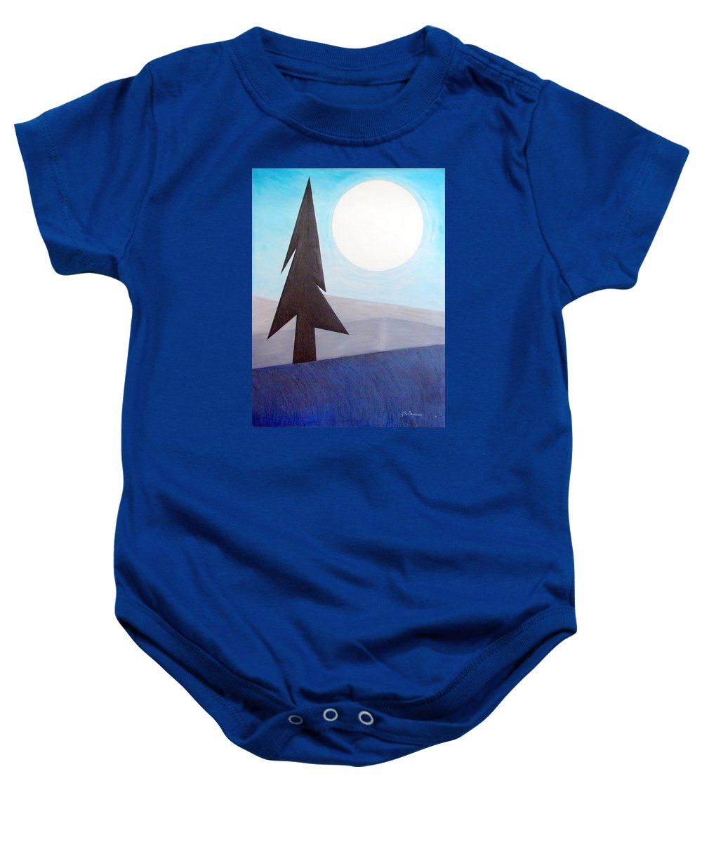 Phases Of The Moon Baby Onesie featuring the painting Moon Rings by J R Seymour