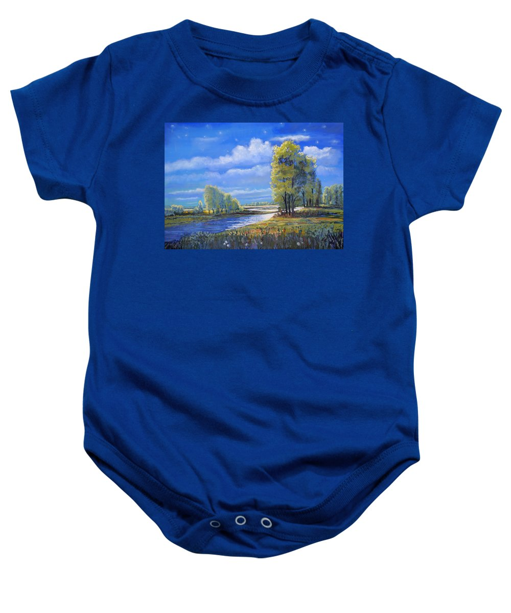 Moonlight Baby Onesie featuring the painting Moonlight On Clear Creek by Heather Coen