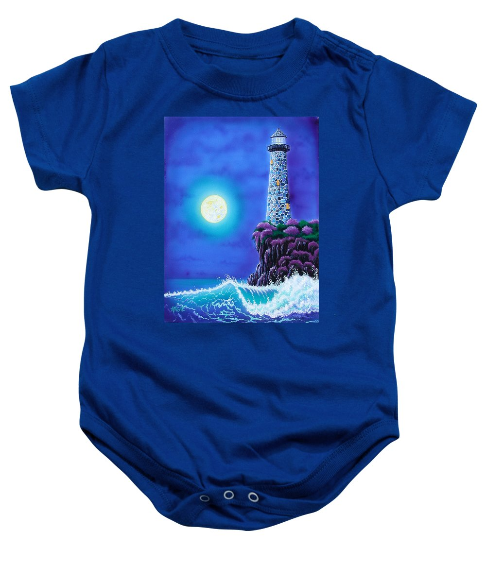 Lighthouse Baby Onesie featuring the painting Moonlight Vigil by Angie Hamlin
