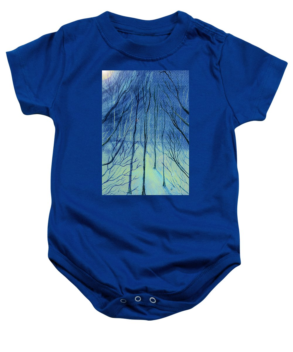 Watercolor Baby Onesie featuring the painting Moonlit In Blue by Brenda Owen