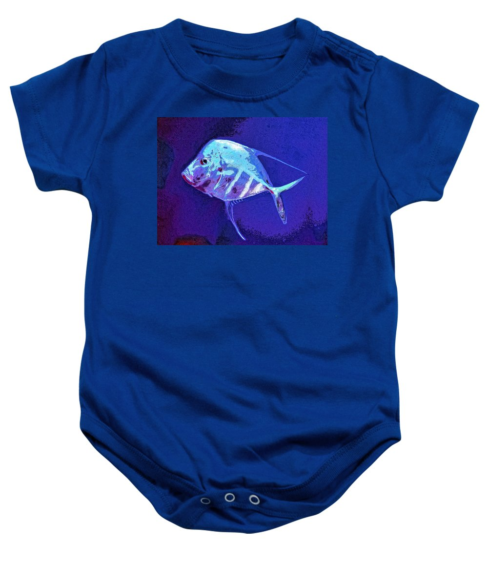 Fish Baby Onesie featuring the painting Morton by Dominic Piperata