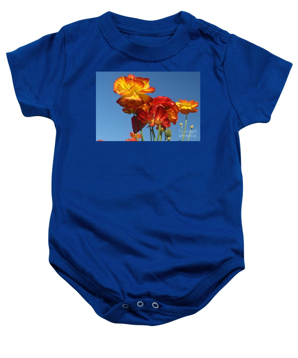 The Flower Fields At Carlsbad Baby Onesie featuring the photograph Mother's Day Flowers by Luv Photography