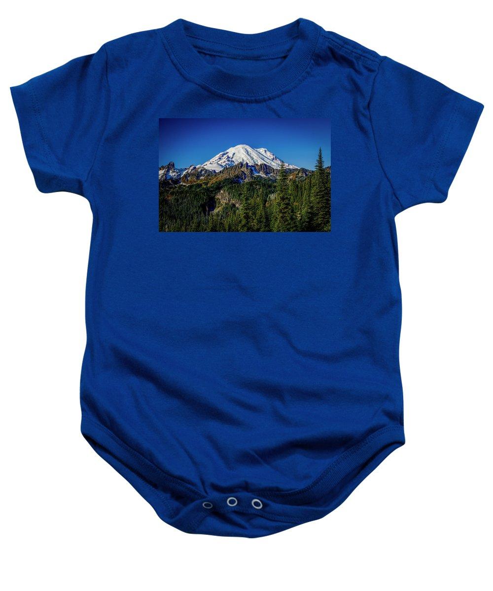Washington Baby Onesie featuring the photograph Mount Rainier - Eastside by Michael Sedam