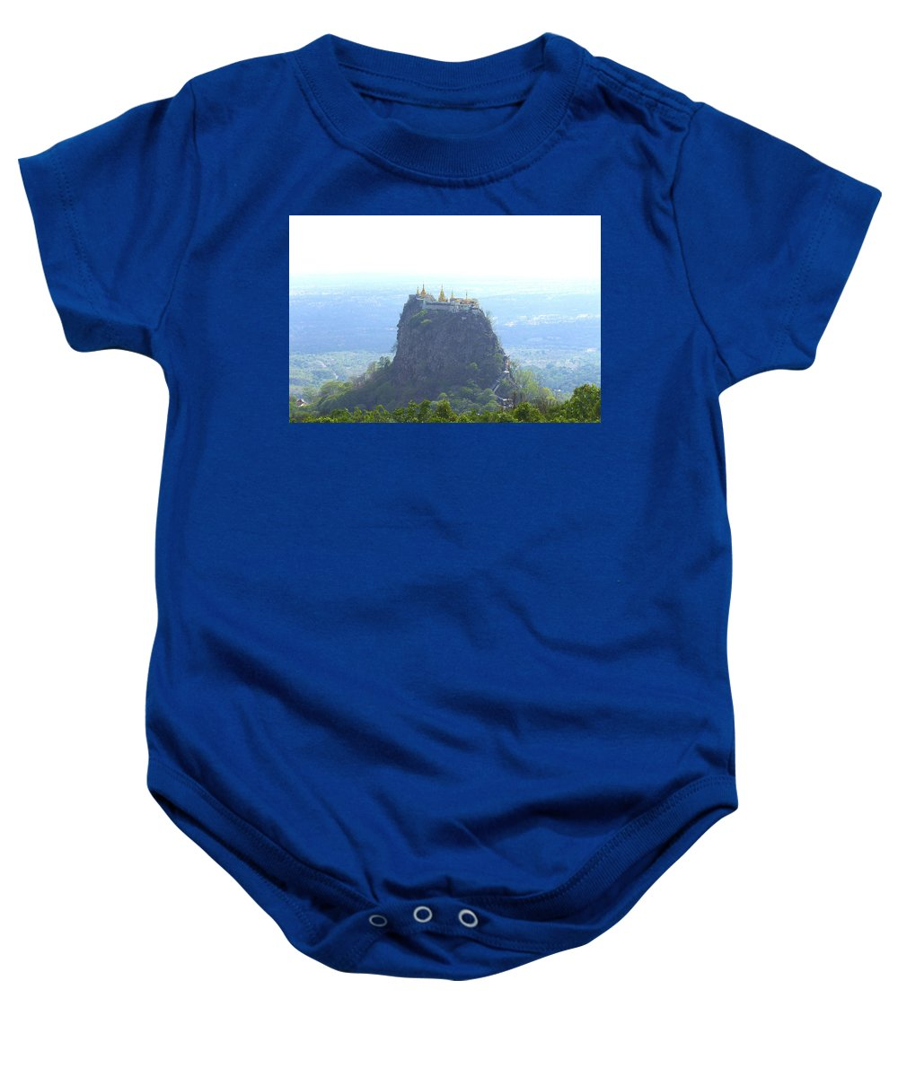 Mountain Popa By Valeria Trot Baby Onesie featuring the photograph Mount Popa by Valeria New
