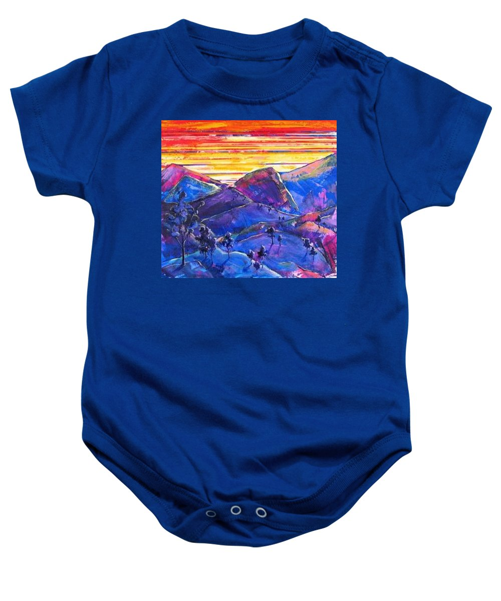 Mountains Baby Onesie featuring the painting Mountainscape Blue by Rollin Kocsis
