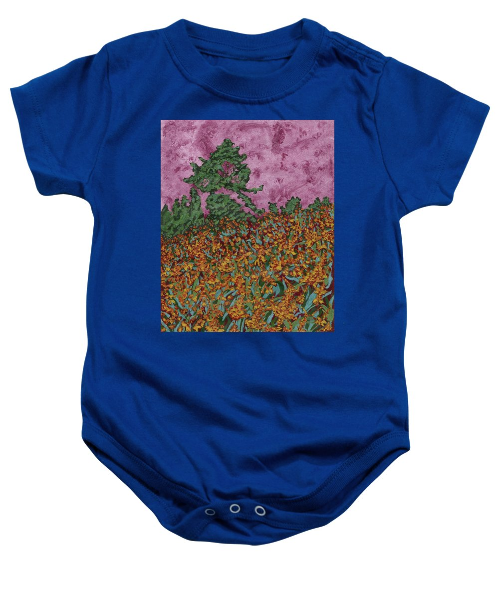Impressionist Landscape With Mountbretia Flowers And Fir Trees At Sunset Baby Onesie featuring the painting Mountbretia Evening by Anne Marjorie Erickson