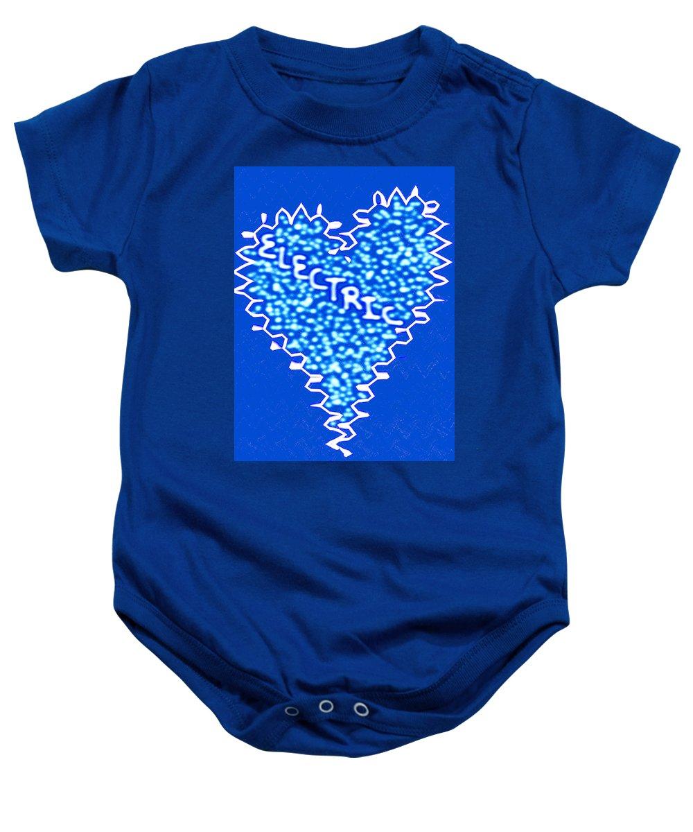Moveonart! Global Gathering. San Francisco / New York Jacob Kanduch Baby Onesie featuring the digital art Moveonart Electric Blu Heart 1 by Jacob Kanduch