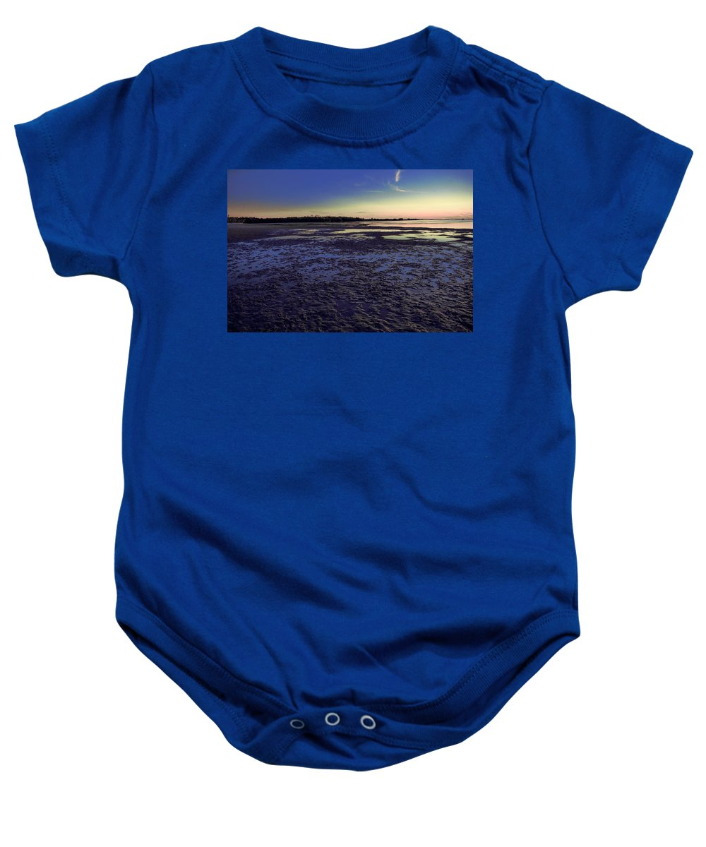 Muddy Beach Baby Onesie featuring the photograph Muddy Beach by Michael Frizzell
