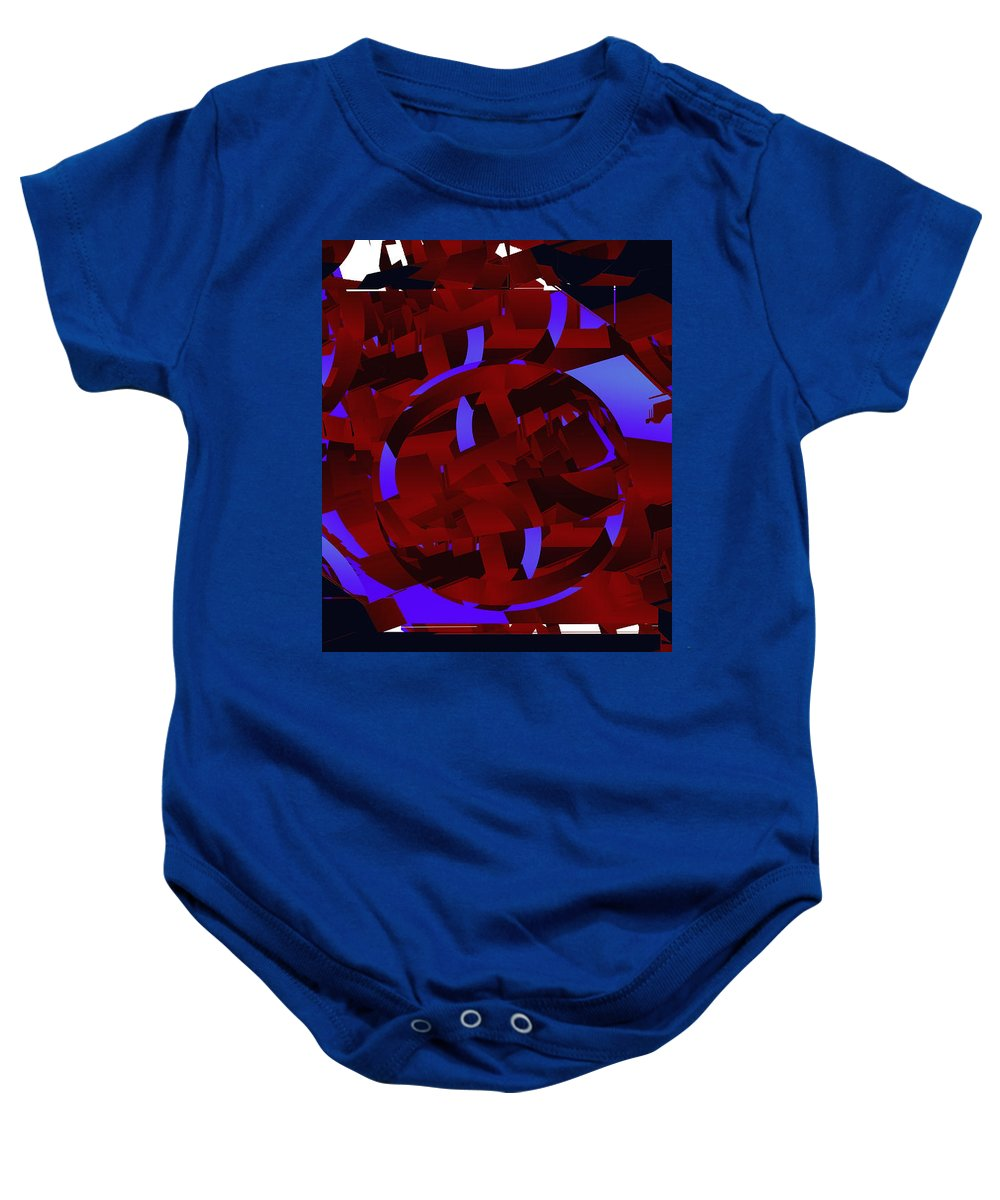 Mars Baby Onesie featuring the digital art Multi Dimensional Martian Machine by XERXEESE Color Schemes
