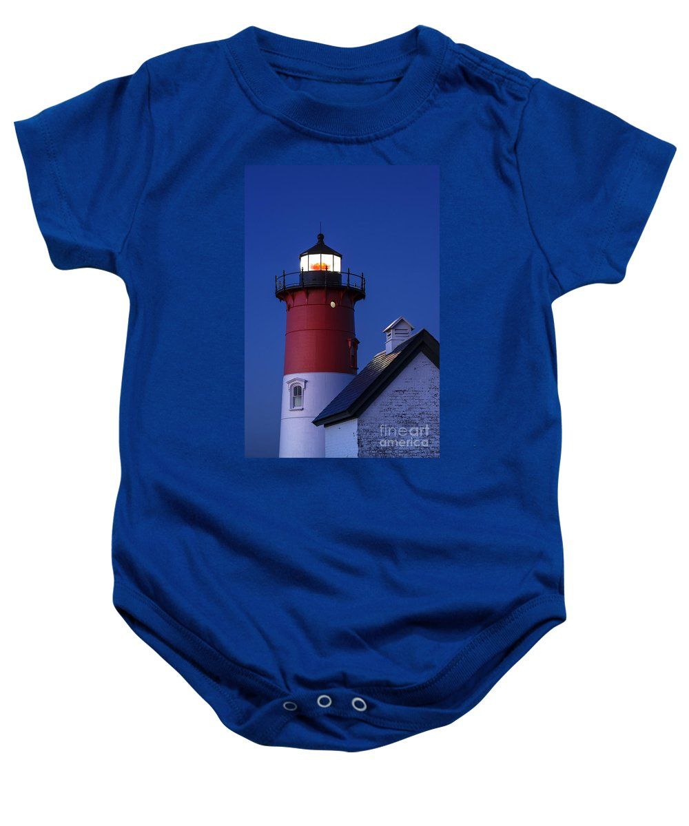 Cape Cod Baby Onesie featuring the photograph Nauset Lighthouse Night by John Greim