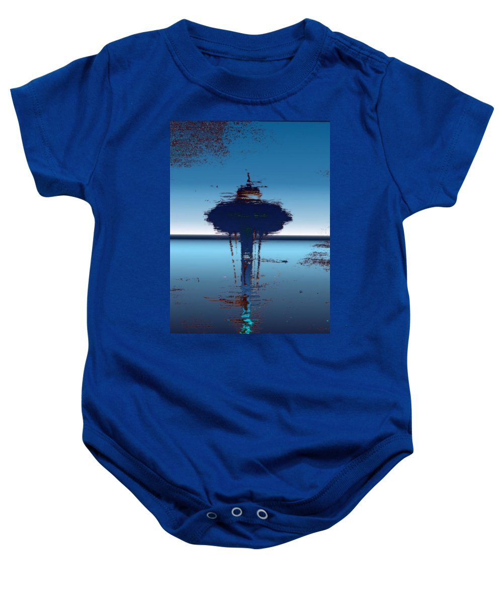Seattle Baby Onesie featuring the digital art Needle In A Raindrop Stack 4 by Tim Allen