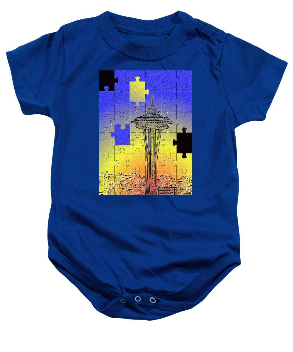 Seattle Baby Onesie featuring the photograph Needle Jigsaw by Tim Allen