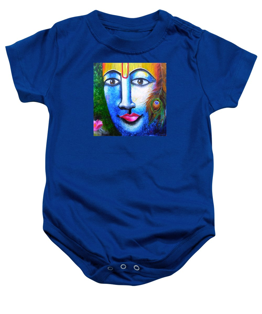Krishna Baby Onesie featuring the painting Neela Madhava by Tejaswani Sharma