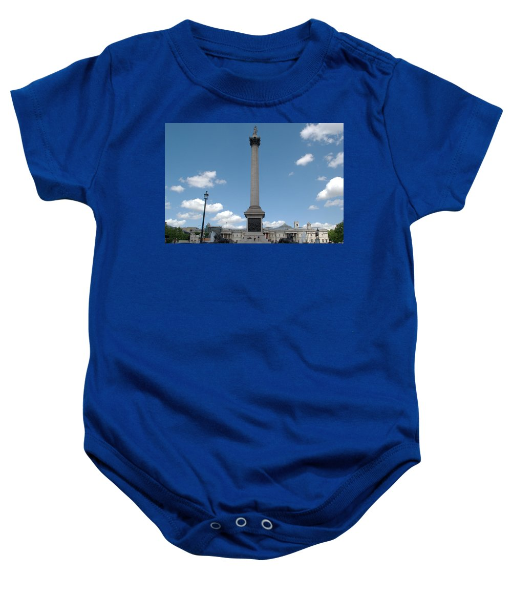Trafalgar Baby Onesie featuring the photograph Nelsons Column by Chris Day