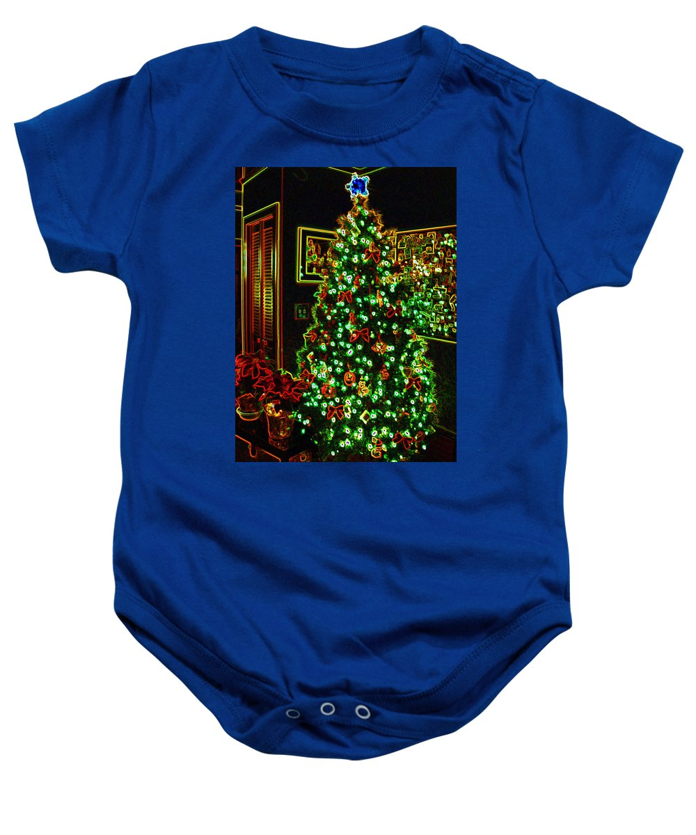 Christmas Baby Onesie featuring the photograph Neon Christmas Tree by Nancy Mueller