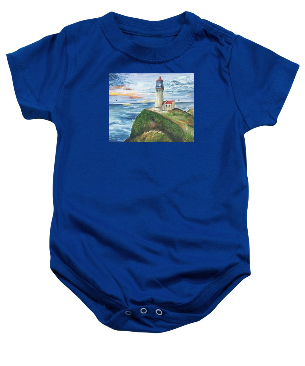 Lighthouse Baby Onesie featuring the painting North Head Lighthouse by Rachel Lucas-Bertsch