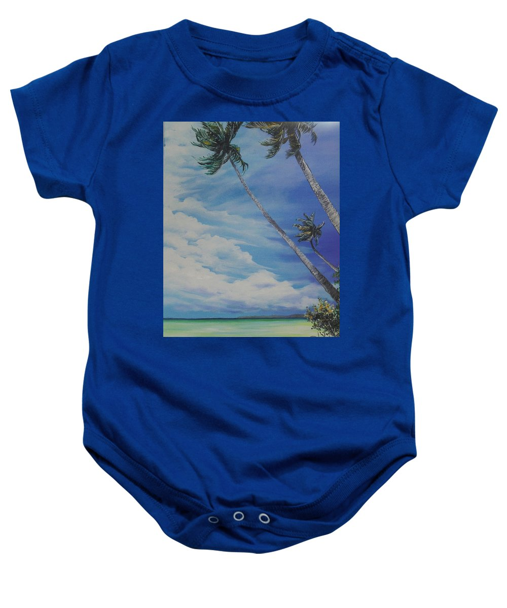Trinidad And Tobago Seascape Baby Onesie featuring the painting Nylon Pool Tobago. by Karin Dawn Kelshall- Best