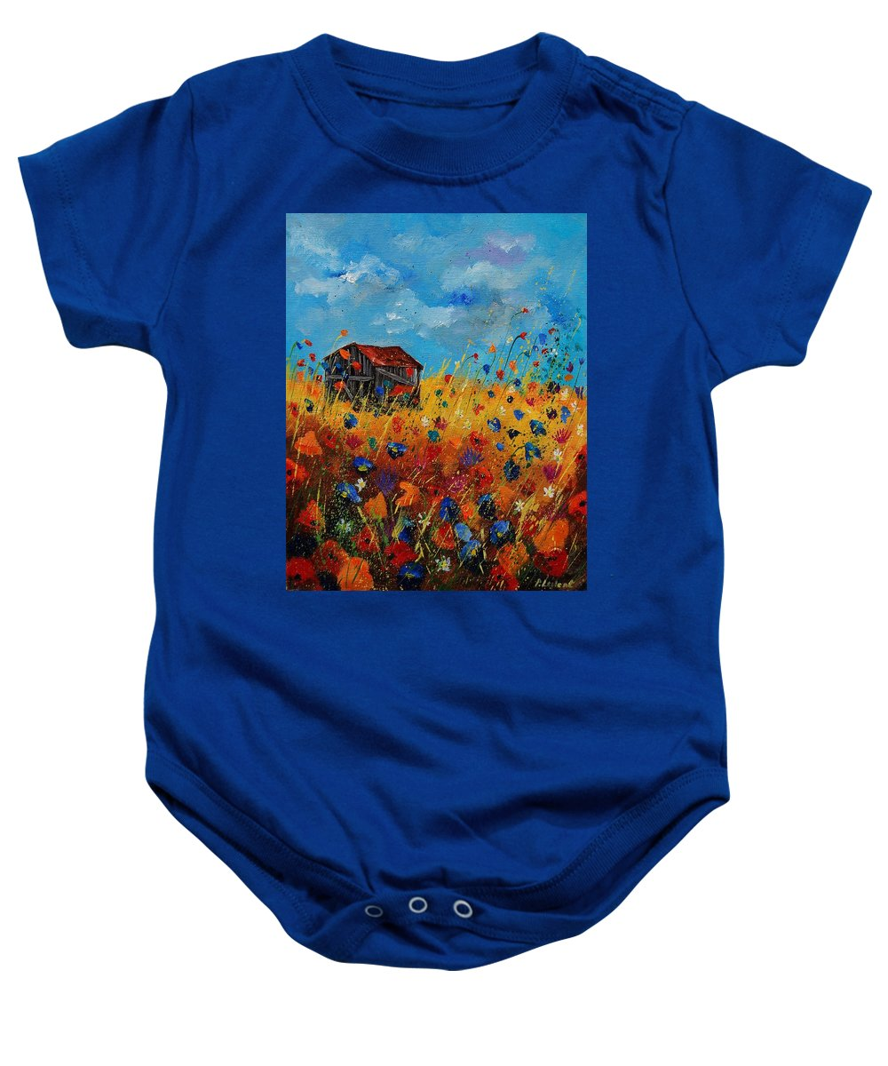 Flowers Baby Onesie featuring the painting Old Barn And Wild Flowers by Pol Ledent