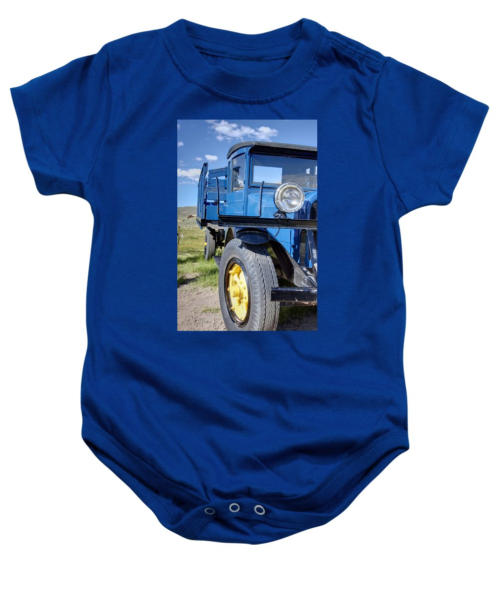 Bodie Baby Onesie featuring the photograph Old Blue by Ricky Barnard