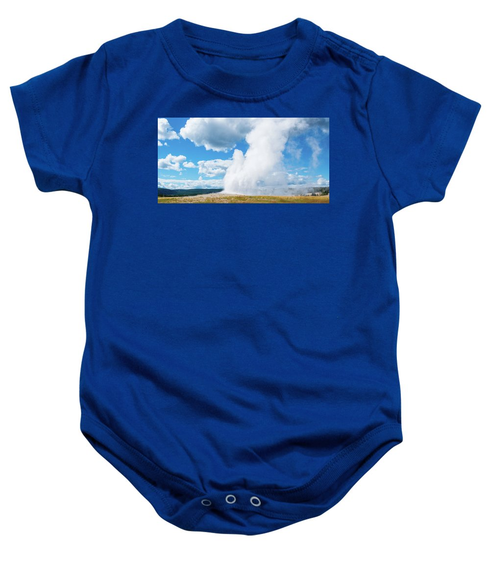 North America Baby Onesie featuring the photograph Old Faithful by David Finlayson