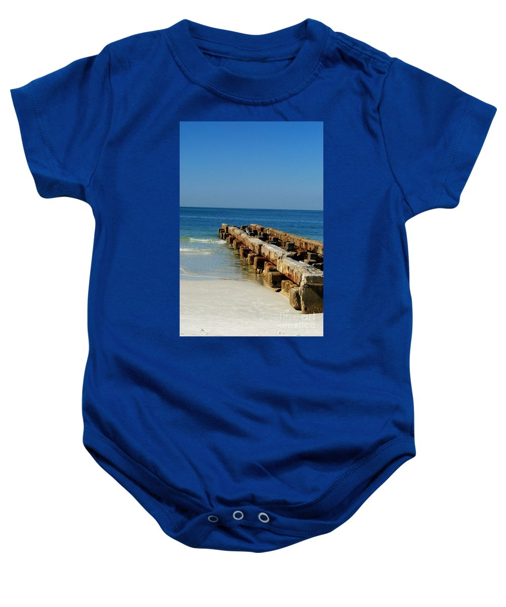 Pier Baby Onesie featuring the photograph Old Pier by Gary Wonning