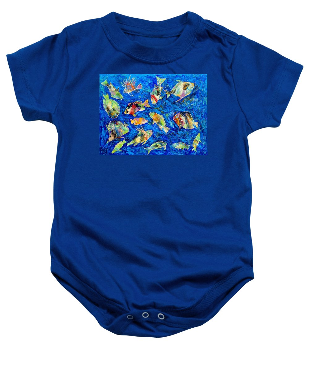 Fish Baby Onesie featuring the painting Old School by Dominic Piperata