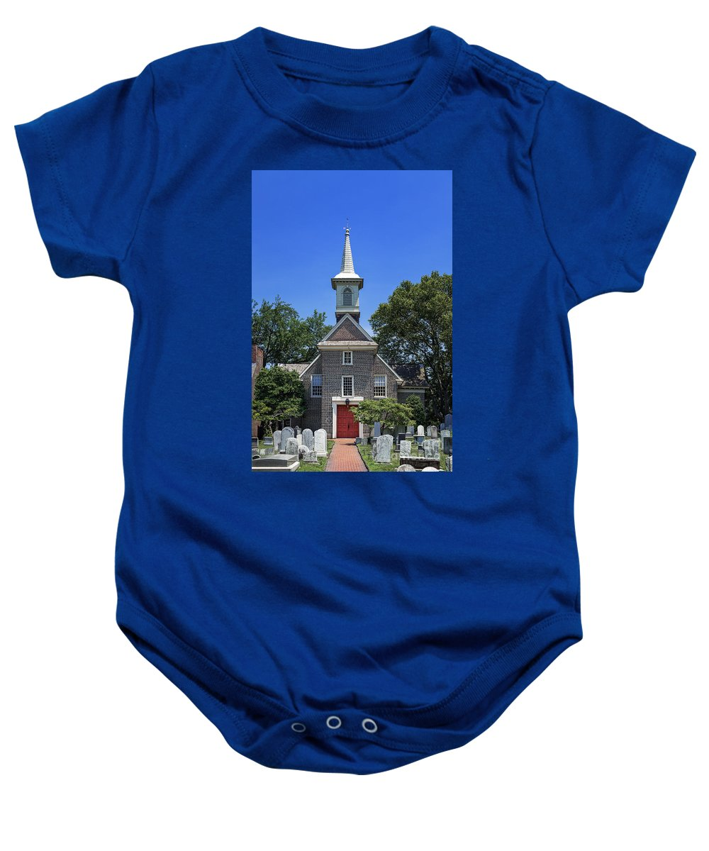 1677 Baby Onesie featuring the photograph Old Swedes' Church by John Greim