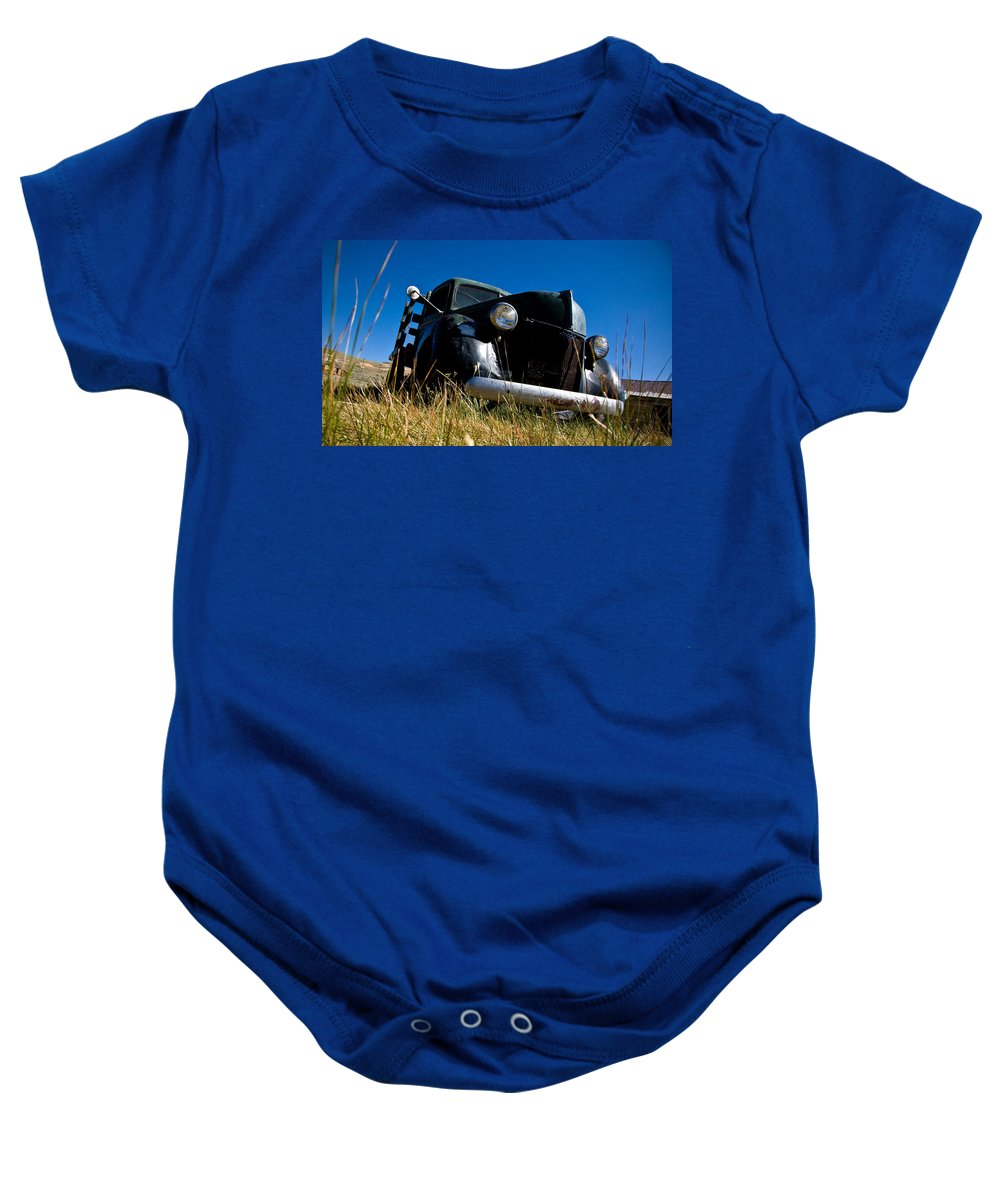 Old Truck Low Perspective Baby Onesie featuring the photograph Old Truck Low Perspective by Chris Brannen