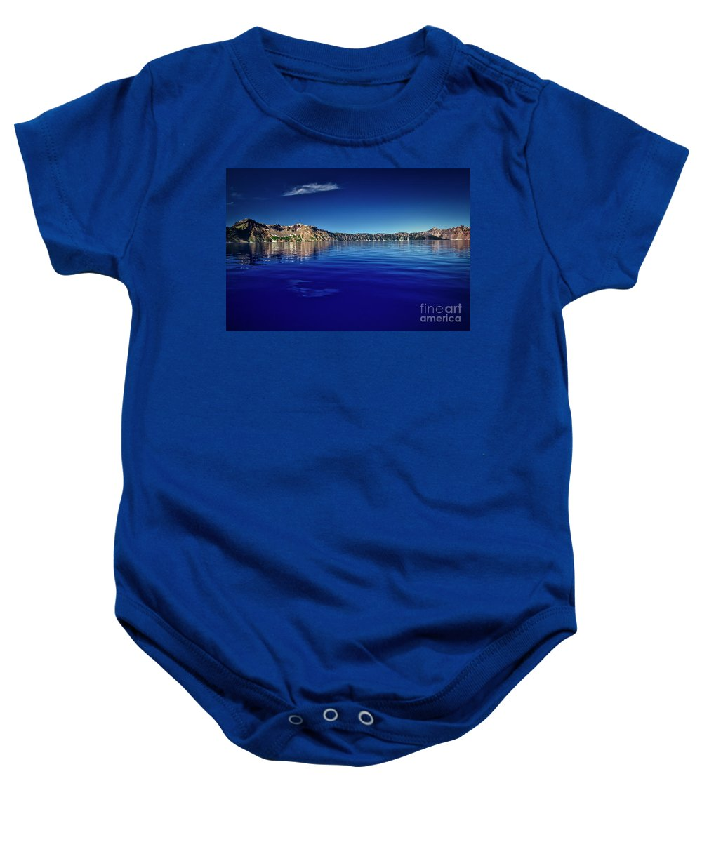 Crater Lake Baby Onesie featuring the photograph On Crater Lake by Bruce Block
