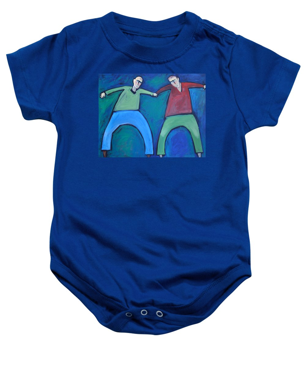 Men Baby Onesie featuring the painting On The Precipice by Tim Nyberg