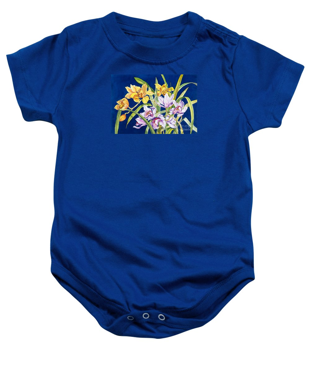 Orchids Baby Onesie featuring the painting Orchids In Blue by Lucy Arnold
