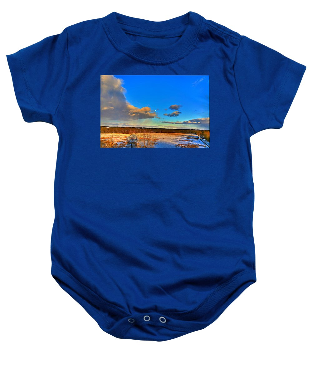 Winter Baby Onesie featuring the photograph Ounce In A Blue Moon by Robert Pearson