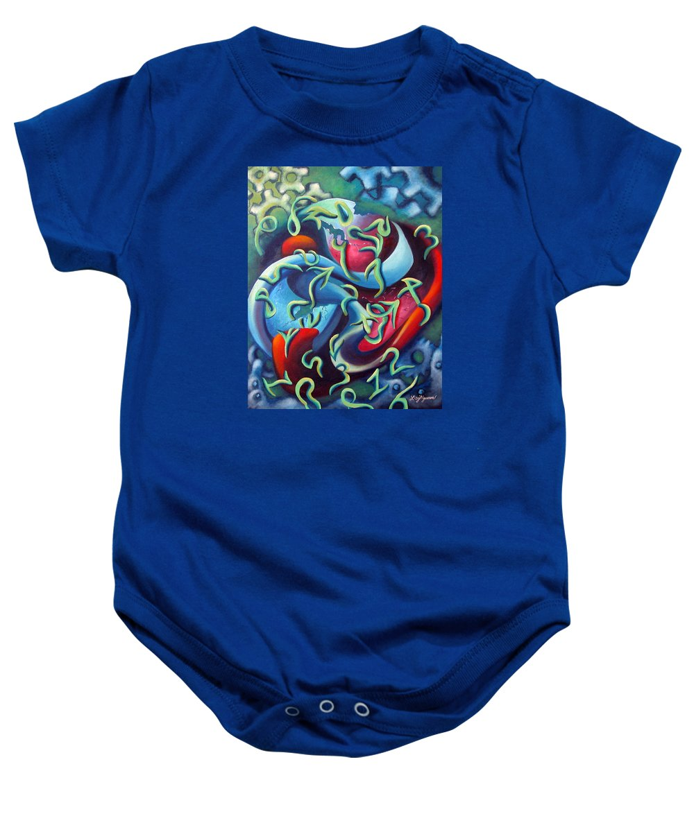 Clocks Baby Onesie featuring the painting Our Inner Clocks by Elizabeth Lisy Figueroa