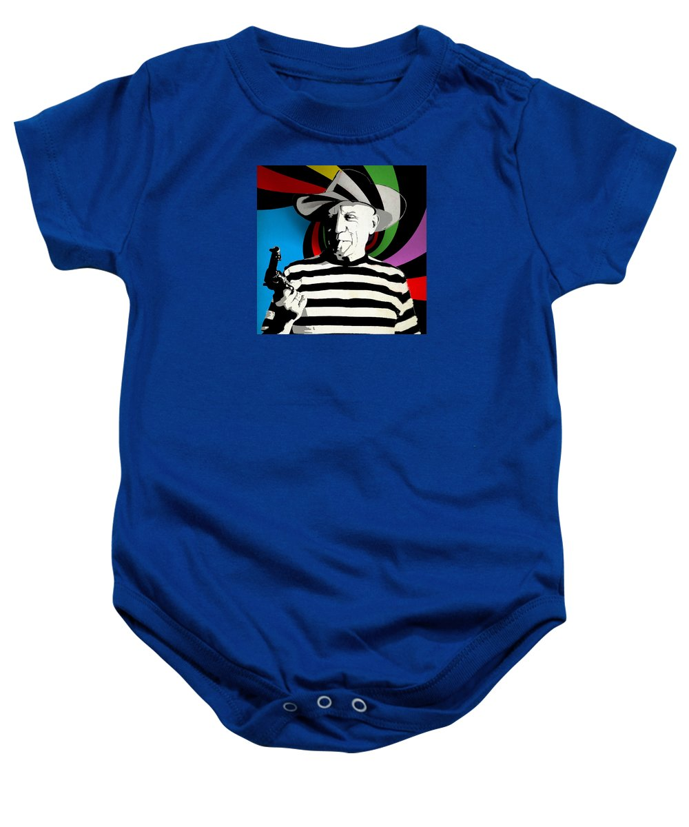 Picasso Baby Onesie featuring the mixed media Pablo Colores by Surj LA
