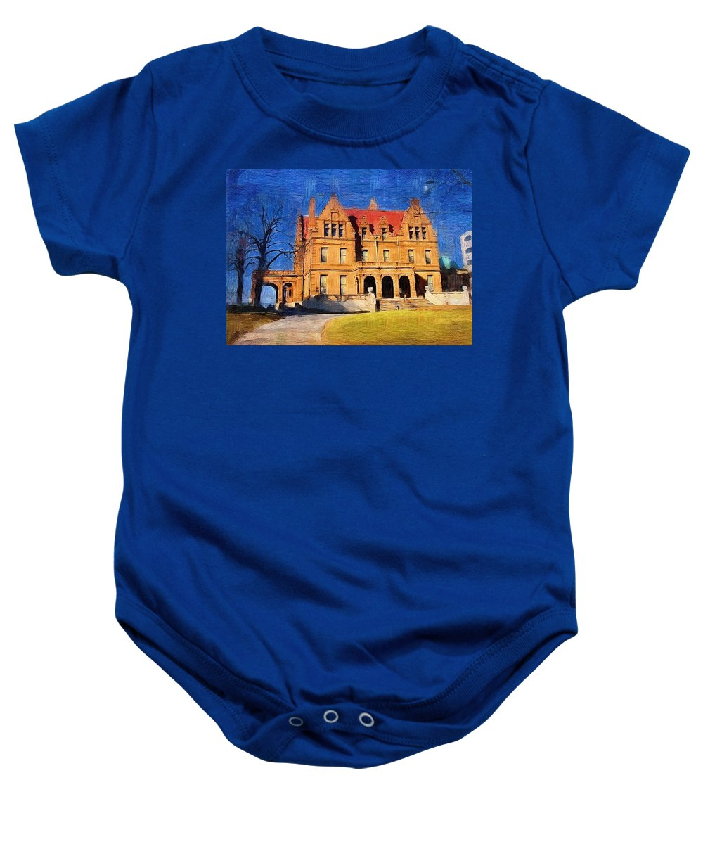 Architecture Baby Onesie featuring the digital art Pabst Mansion by Anita Burgermeister