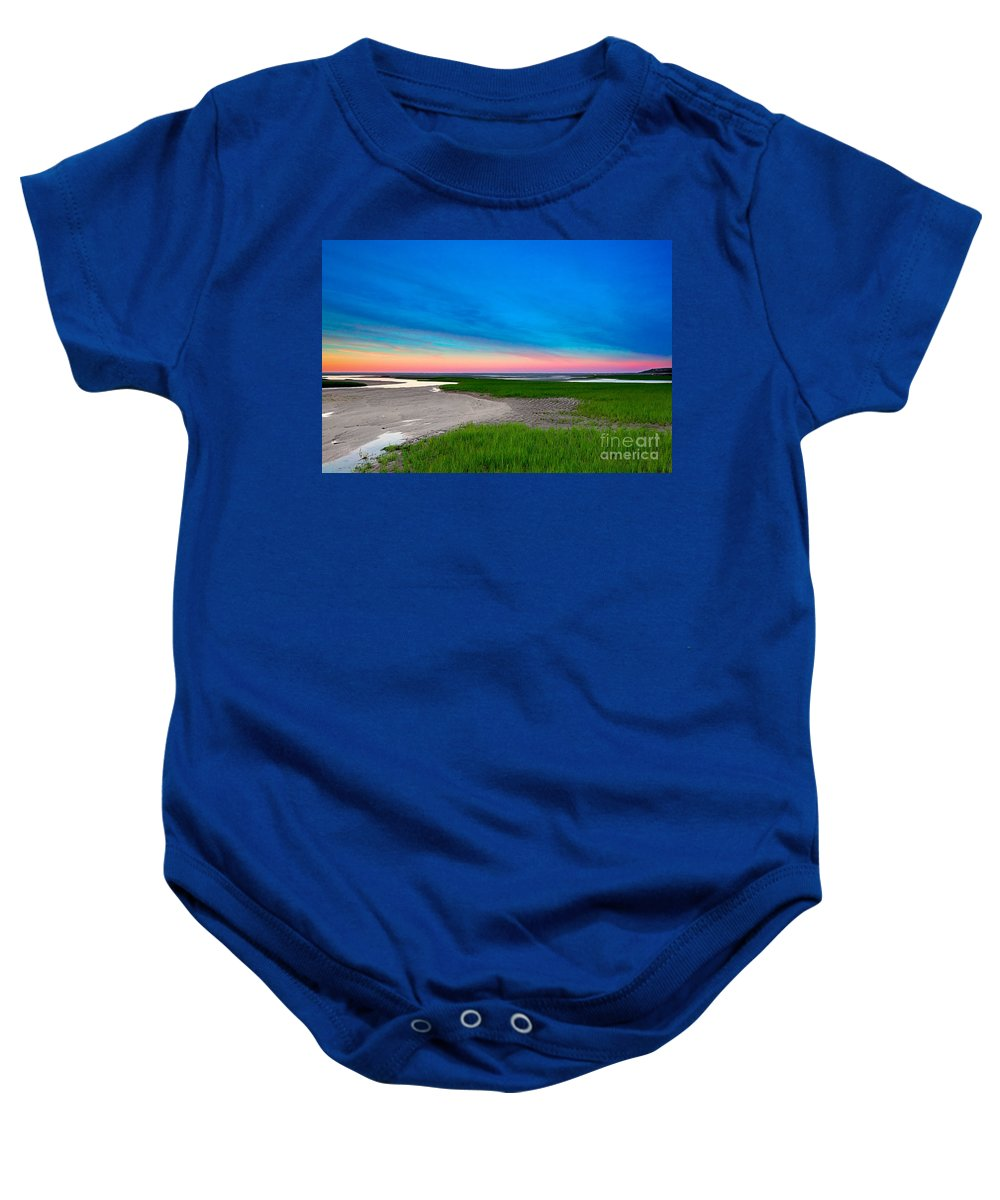 Sunset Baby Onesie featuring the photograph Paines Creek Sunset Cape Cod by Matt Suess