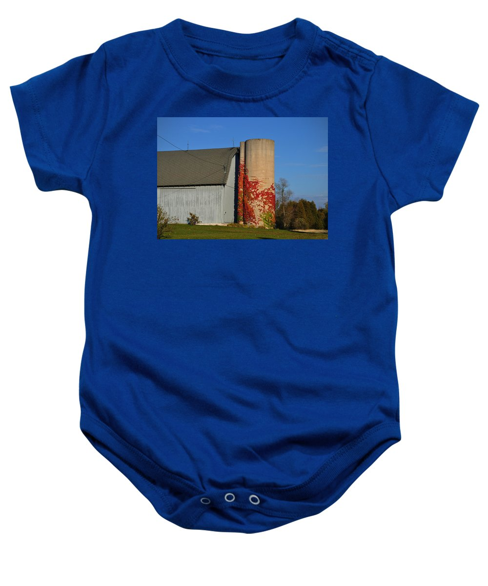 Fall Baby Onesie featuring the photograph Painted Silo by Tim Nyberg