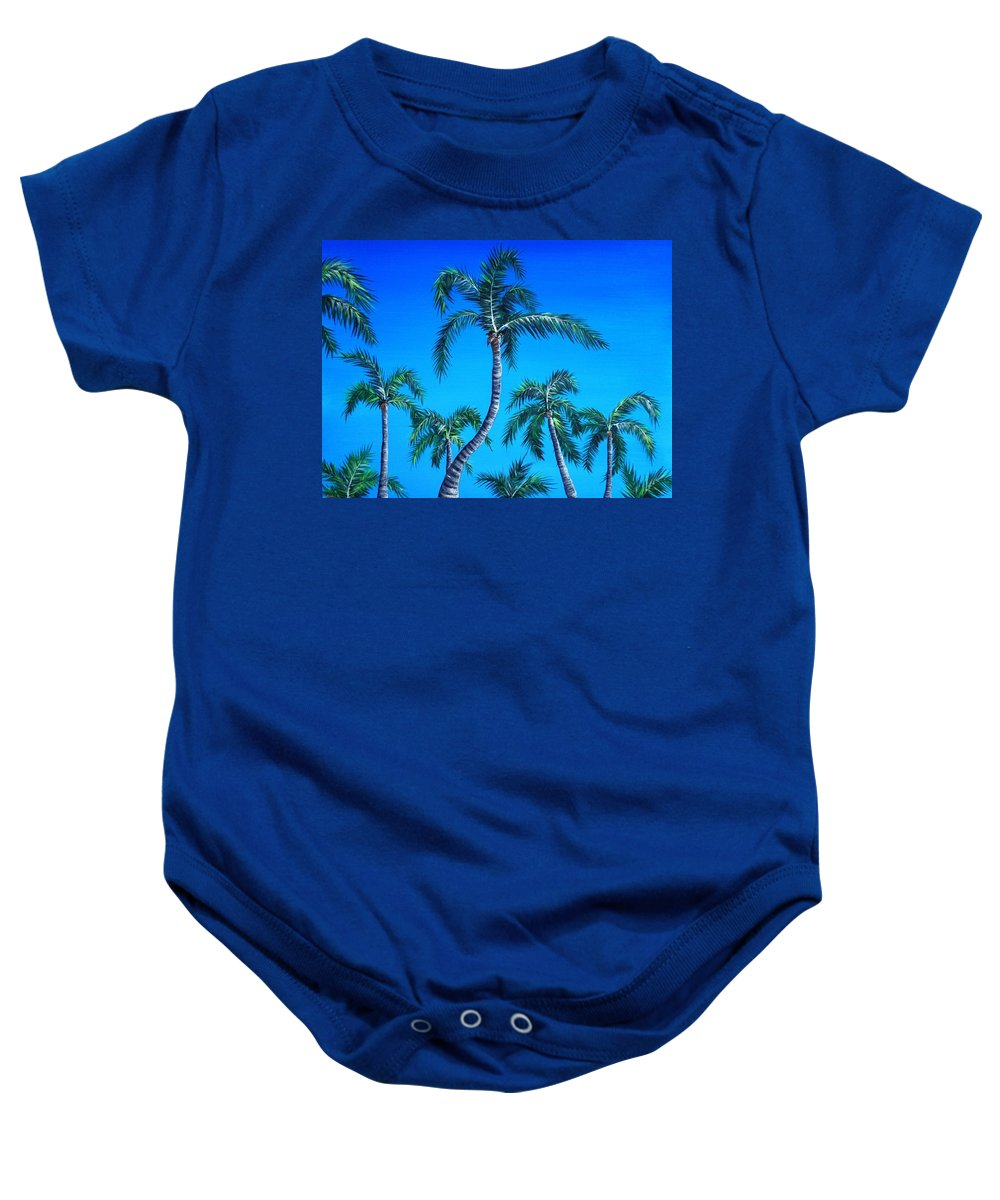 Palm Baby Onesie featuring the painting Palm Tops by Anastasiya Malakhova