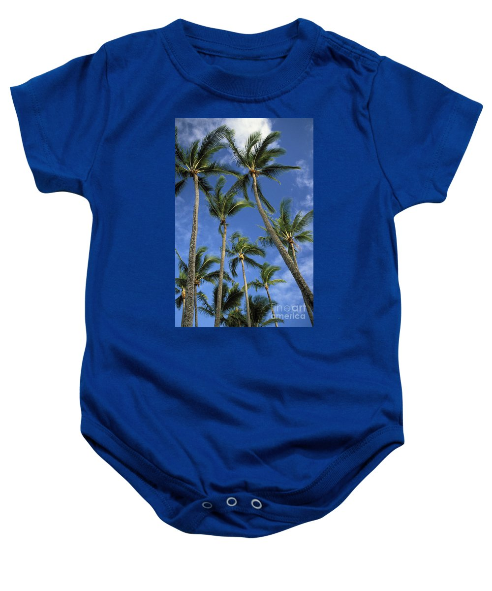 Afternoon Baby Onesie featuring the photograph Palms And Blue Sky by Mary Van de Ven - Printscapes
