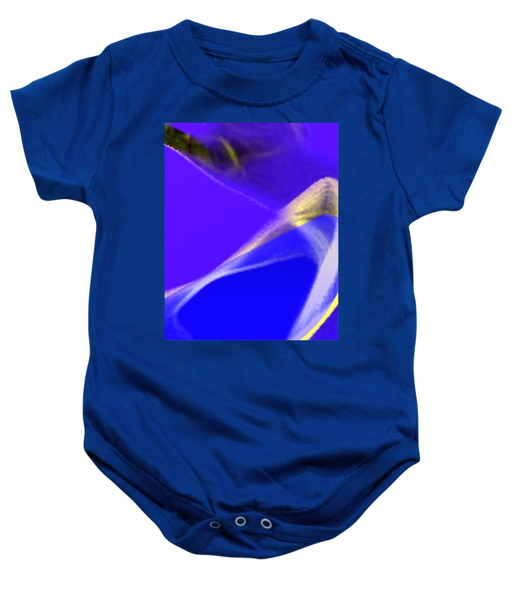 Abstract Baby Onesie featuring the digital art panel three from Movement in Blue by Steve Karol